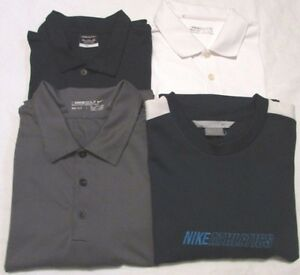 Lot of 4 NIKE Shirts 3 Polo Dri Fit 1 T Shirt 100% Polyester 2XL Multi Color