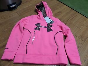 bnwt-girls long sleeve under armour storm 1 realtree pink camo hoodie-size ymd l