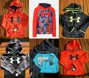 BOYS UNDER ARMOUR HOODIE SWEATSHIRT ~ ORANGE CAMO BLACK ~ SIZE 4 - 5 - 6 - SM
