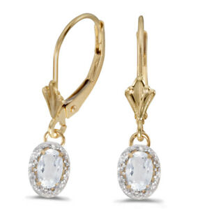 10k Yellow Gold Oval White Topaz And Diamond Leverback Earrings