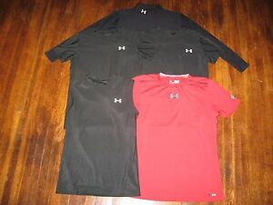 Under Armour Boys Compression Shirts Black Red (Lot of 5) Size XL Youth GUC