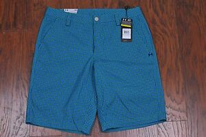 NWT UNDER ARMOUR Gingham Plaid Golf Shorts Green Men's 34 [t91]