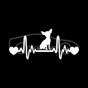CHIHUAHUA HEARTBEAT Sticker Heart Decal Dog Breed Love Rescue Tiny Puppy Cute :