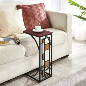 C Shaped Small Narrow End Side Chairside Table Slim Snack Accent Tables Laptop