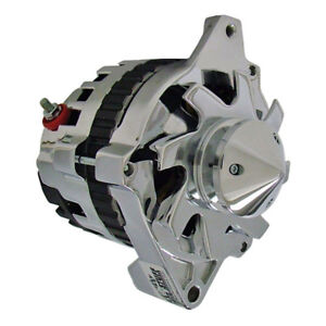 Tuff Stuff Alternator 7935ABULL; CS130 160 Amp Chrome w V Bullet Nose Pulley