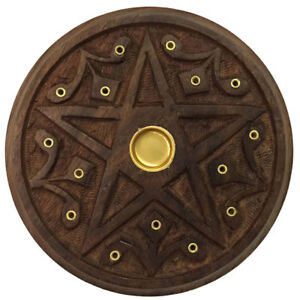 NEW Wooden Pentacle Altar Tile or Incense Burner 5