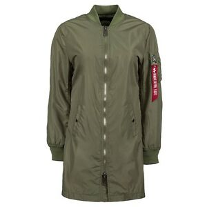 $150 Alpha Industries Women L2B Long Flight Jacket green sage