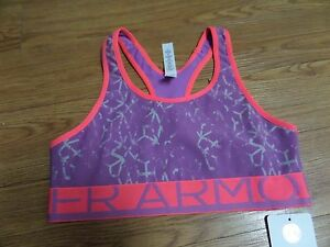 bnwt  girls under armour bra-sizr ylg fitted-purple&pink