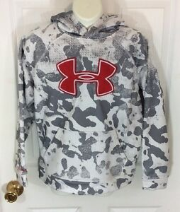 Youth Under Armour Red Logo Gray and White Camo Hoodie Size Youth Medium
