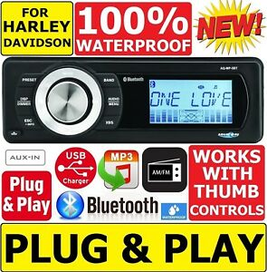 AQUATIC AV AV FOR 1998-2013 HARLEY WATERPROOF BLUETOOTH MP3 AUX RADIO STEREO