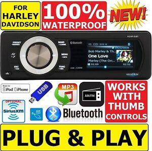 PLUG&PLAY WATERPROOF BLUETOOTH USB RADIO STEREO OPT. SIRIUSXM FOR 98-2013 HARLEY