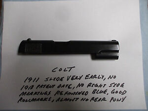 1911 COLT PRE WWI SLIDESHORT PATENT DATENO RIGHT SIDE MARKINGS
