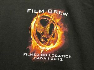 HUNGER GAMES CATCHING FIRE HAWAII FILM CREW MOVIE PROMO NEW XL SHIRT FREE PIN