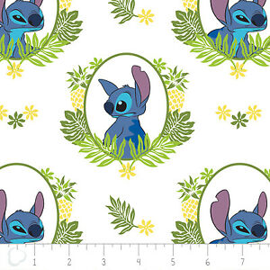 Disney Stitch Tropical Frame in White Premium 100% Cotton fabric by the yard