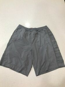LULULEMON Mens M Gray Pace Breaker Shorts w Liner Running Gray Stripes NICE!