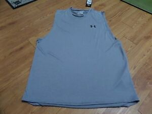 bnwt -sleeveless mens under armour shirt--gray-large lose fit