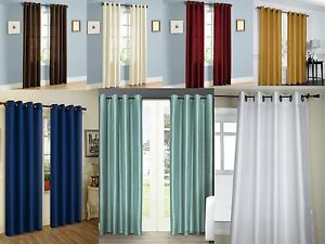 NEW Empire Solid Faux Silk Window Curtain Panel With bronze Grommets All Sizes $6.57