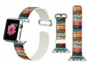 Apple Watch Band Leather Strap 42mm iWatch Replacement Bracelet Wood Printing