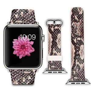 Apple Watch Band Leather Strap 42mm iWatch Replacement Bracelet Brown Snake Skin