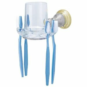 Clear Glass TumblerToothbrush Holder Satin with Polished Brass FREE SHIPPING