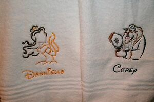 Beauty & Beast Sketch His Hers Personalized Towel Set  Any Color