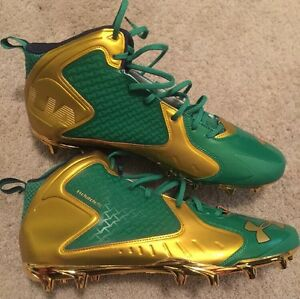 2015 TEAM ISSUED NOTRE DAME FOOTBALL UNDER ARMOUR SHAMROCK SERIES CLEATS #99