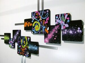Ultra Abstract Black & Colorful Neon Squares swirl design Wall Sculpture hanging