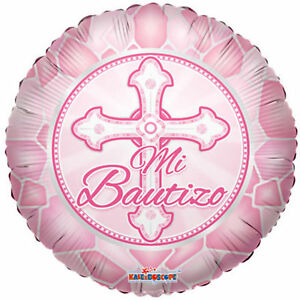 Baptism Balloon 18 Mi Bautizo Spanish Mylar Foil Pink Party Decorations Gifts