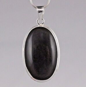 13g Black Obsidian Eye Tektite 925 Sterling Silver Pendant Necklace Jewellery
