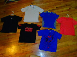 5 lot UNDER ARMOUR loose fit shirts heat gear superman golf polo youth boy large