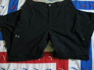 UNDER ARMOUR  Men's  Rip Stop Black Pants Combertible to Shorts 34x30 Dry FIT