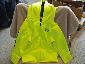 Under Armour Full Zip Up Hoodie Toddler Yellow Black Youth Size 18 months