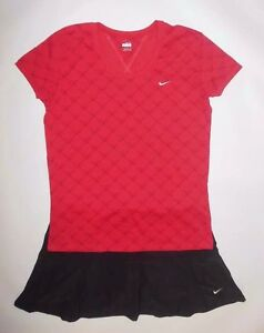 NIKE SHIRT AND SKIRT SET RED BLACK FIT DRY TENNIS OUTFIT RUNNING CASUAL sz XLL