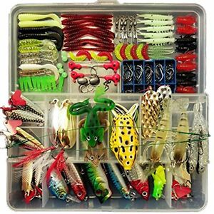 Fishing Tackle Set Lure Baits Rattle Hooks Freshwater Trout Bass Salmon with BOX