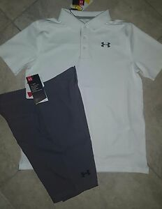 New boys Under Armour Golf Shirt and Shorts youth 10