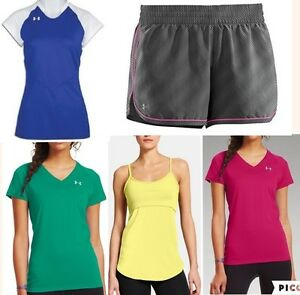 lot of 5 UNDER ARMOUR heat gear short sleeve shirts running shorts womens small