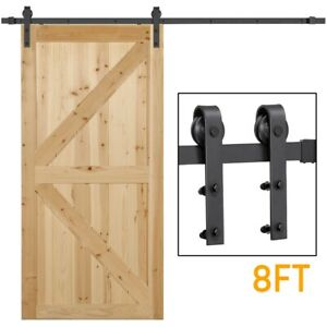 8Ft Sliding Barn Door Hardware Kit Set Antique Style Single Closet Wood Track