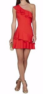 BCBG Max Azria CALINDA One-Shoulder Ruffle Poppy Red Dress size 8