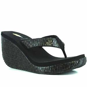 Women Volatile CHA-CHING Black Weaved Rounded Toe Post Thong Wedge Sandal Shoes