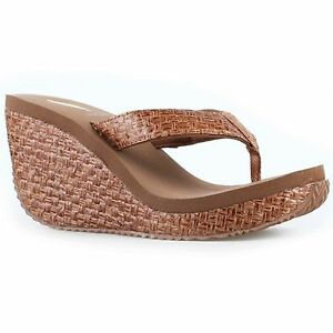 Women Volatile CHA-CHING Bronze Weaved Rounded Toe Post Thong Wedge Sandal Shoes