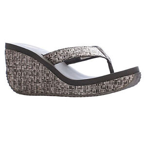 Women Volatile CHA-CHING Pewter Weaved Rounded Toe Post Thong Wedge Sandal Shoes