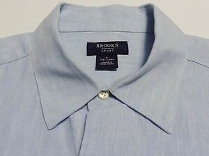 Brooks Sports By Brooks Brothers Mens Linen Shirt Blue Short Sleeve Size L