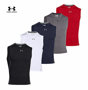 Mens Under Armour Compression Shirt HeatGear Armour Sleeveless Top 1257469 NEW