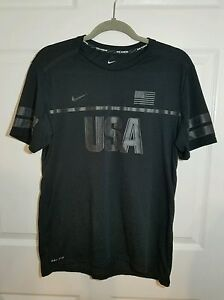 Nike Dri Fit Athletic Team USA Running Athletic Shirt Matte Black Mens Size M