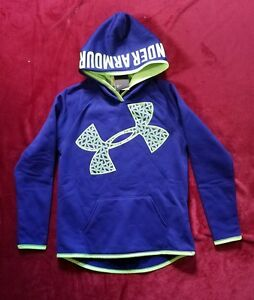 NWT Under Armour Storm1 Girls YLG Blue Big Logo Highlight Hoodie Water Resistant
