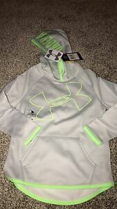 Under Armour Girls Youth Small Storm Hoodie Grey Green NWT