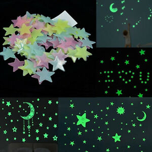400pcs 3D Stars Glow In The Dark Luminous Fluorescent Wall Stickers Kids Bedroom