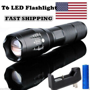 Long Range Light 200000 LM Tactical T6 LED Flashlight Hiking Torch Rechargeable