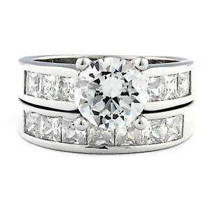 Sterling Silver 5.4 carat Ice on Fire CZ 2 Piece Wedding Ring Set Tallia 80