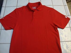 Under Armour UA Golf Shirt Loose Short Sleeve Red Polyester Mens Size Small $19.99